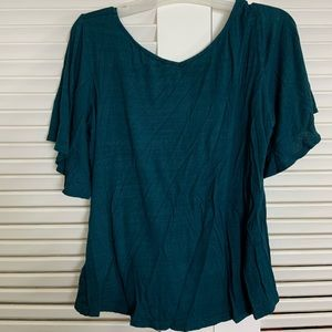 Chennault L green cotton butterfly sleeve knot top